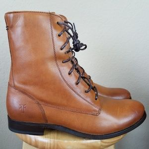 Frye Melissa Tan Lace Up Combat Short Boot 8.5